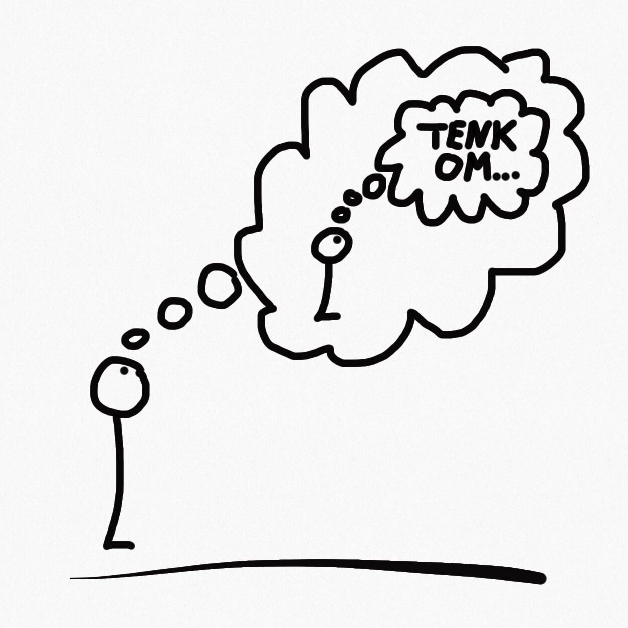 Metakognitiv terapi illustrert med en strekmann som tenker på en strekmann - ham selv - som tenker